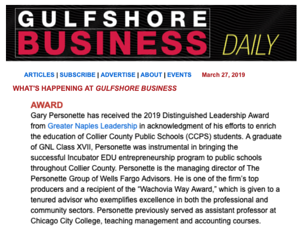 Personette's Award Acknowledged in Gulfshore Business